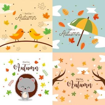 Bonjour automne background illustration collection