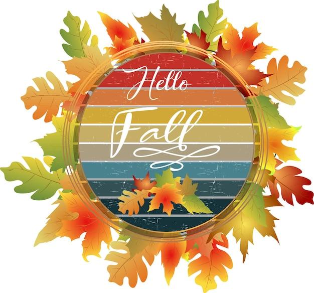 Bonjour automne cadre d'automne avec des feuilles colorées
