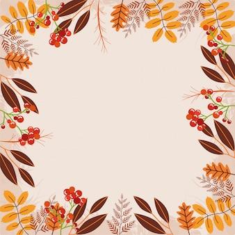 Bonjour, automne, feuilles, cadre