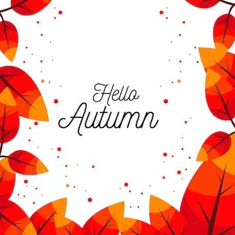 Bonjour, automne, fond, illustration