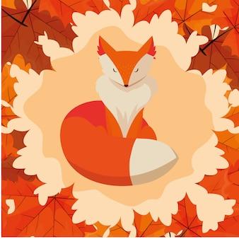 Bonjour, automne, illustration, renard, animal, cadre, feuilles