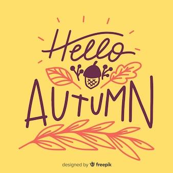 Bonjour automne lettrage de fond avec des feuilles