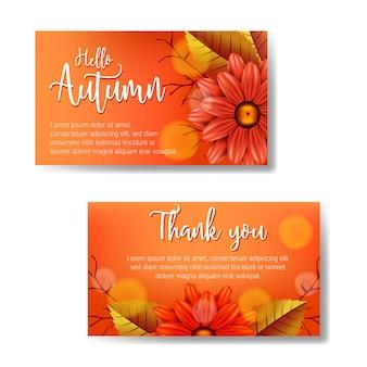 Bonjour l'automne et merci conception de modèle de cartes de voeux