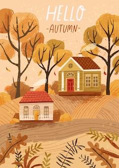 Bonjour automne modèle de carte de voeux dessiné à la main. carte postale, mise en page de l'affiche. paysage de saison d'automne, paysage de campagne, humeur d'automne. maisons rustiques, illustration de chalets confortables avec typographie.