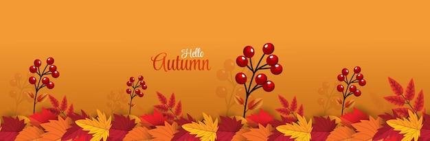 Bonjour automne plus grand fond avec des feuilles d'automne rouge orange marron et jaune vecteur premium