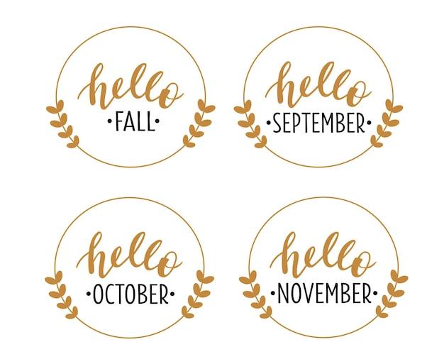 Bonjour automne septembre octobre novembre lettrage dessiné à la main
