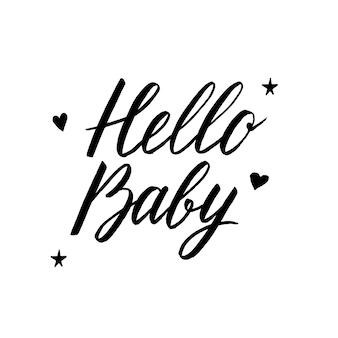 Bonjour babyhand dessiné bébé arrivée célébration fête phrase manuscrite