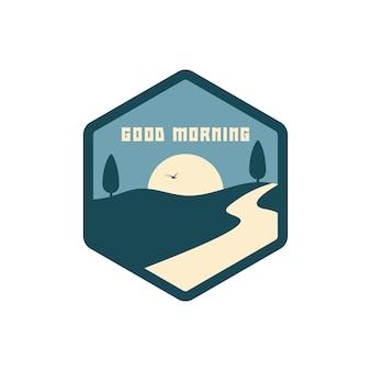 Bonjour badge logo illustration vecteur isolé