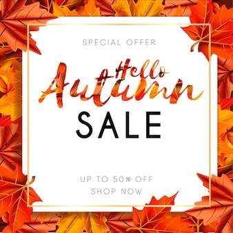 Bonjour bannière automne vente avec vecteur de feuilles colorées