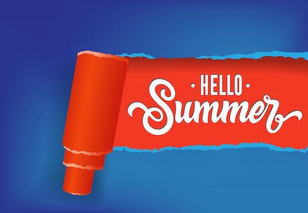 Bonjour bannière créative d'été dans les couleurs rouges et bleues. texte manuscrit