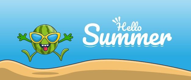 Bonjour bannière d'été avec la conception de personnage d'illustration de pastèque de vacances à la plage