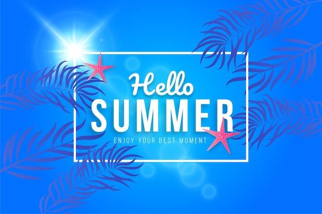 Bonjour bannière d'été avec dégradé et feuille tropicale