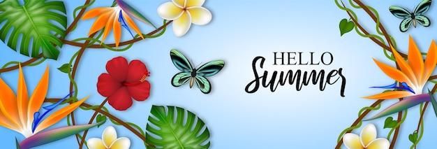 Bonjour bannière d'été avec des feuilles de fleurs tropicales et des papillons