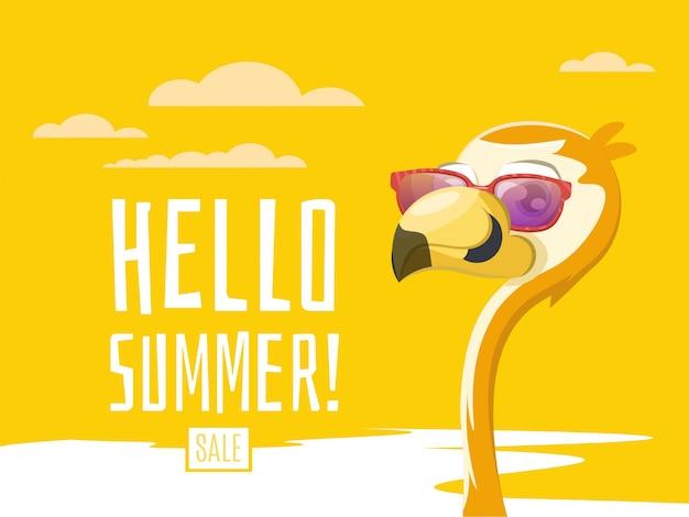 Bonjour bannière d'été avec flamant rose