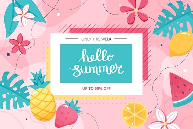Bonjour bannière d'été avec des fruits, des feuilles et des fleurs. illustration vectorielle dessinés à la main mignon avec lettrage, modèle de bannière