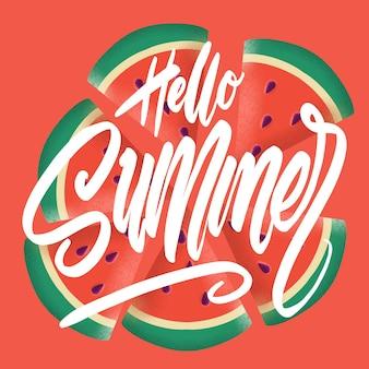 Bonjour bannière d'été. texturé tendance. vocation de saison, week-end, logo de vacances. fond d'écran de l'heure d'été. bonne journée d'été. vecteur de l'espace globe. texte de lettrage. modèle de style de couleur moderne à la mode.