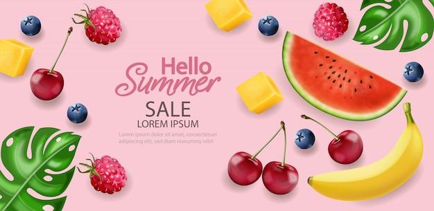 Bonjour bannière de fruits tropiques d'été