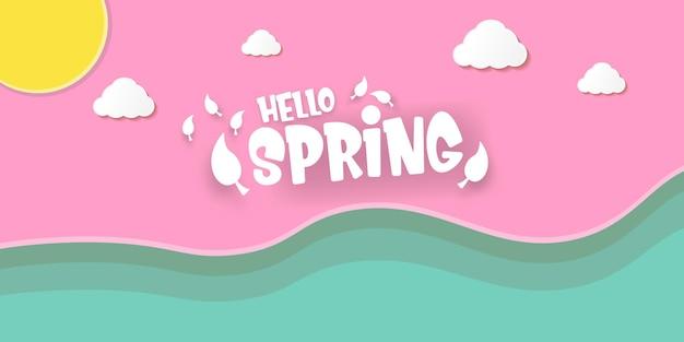 Bonjour bannière horizontale de style papier découpé au printemps