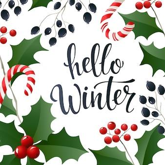Bonjour bannière de lettrage d'hiver pour le web ou les médias sociaux