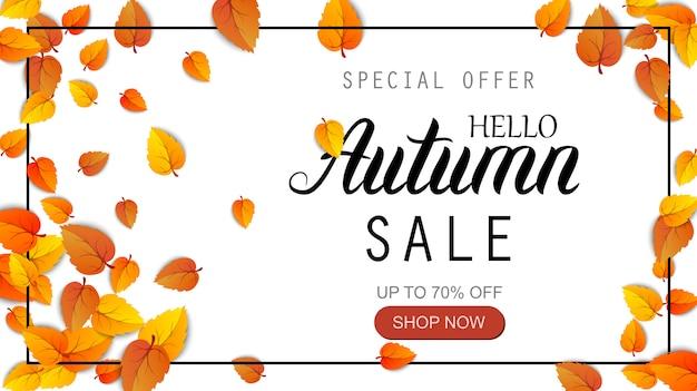 Bonjour bannière de lettrage de vente automne. offre spéciale affiche de réduction avec des feuilles d'or d'automne. modèle de conception saisonnière d'automne