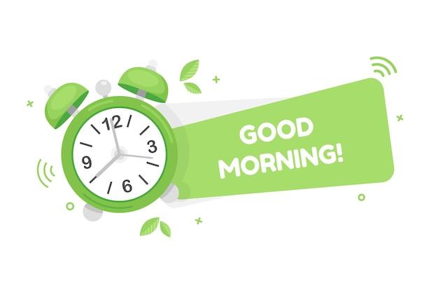 Bonjour bannière mignonne avec réveil au design plat