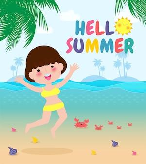 Bonjour bannière de modèle d'été les jeunes femmes sautant sur s'amuser l'heure d'été personne de détente au bord de la mer temps de salon au bord de la mer vacances d'été dessin animé plat sur fond