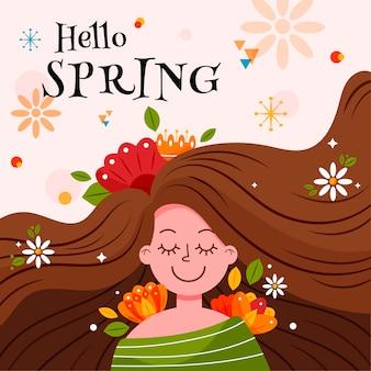 Bonjour bannière de printemps avec une femme aux cheveux longs