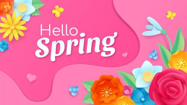 Bonjour bannière de printemps avec fleur coupée en papier, feuille et papillons. modèle de cadre avec décoration florale. conception de vecteur de carte de voeux de printemps. fleur botanique et feuillage de plantes naturelles