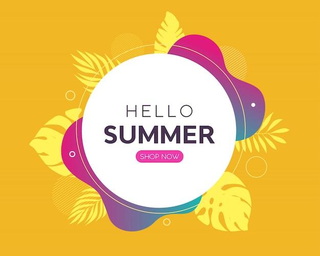 Bonjour bannière de vente d'été b