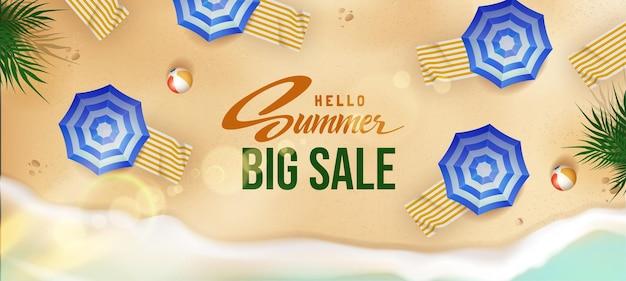 Bonjour bannière de vente d'été