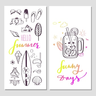 Bonjour les bannières à la mode de l'été avec des illustrations dessinées à la main et une calligraphie manuscrite