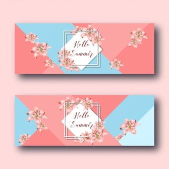 Bonjour les bannières web de l'été avec des fleurs de lys, un cadre en diamant blanc et du texte sur le corail et le bleu.