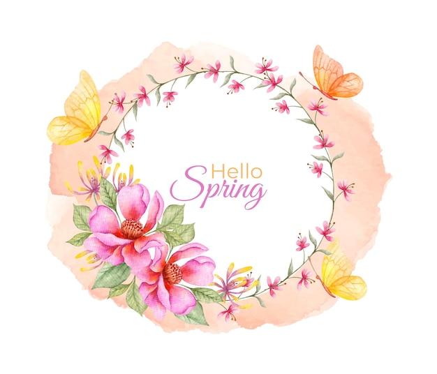 Bonjour cadre floral aquarelle printemps avec des papillons