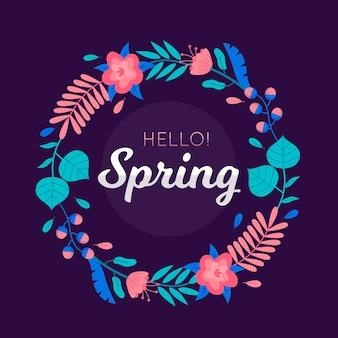 Bonjour cadre floral printemps