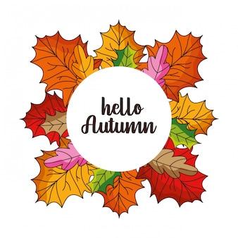 Bonjour carte automne avec les feuilles tombées