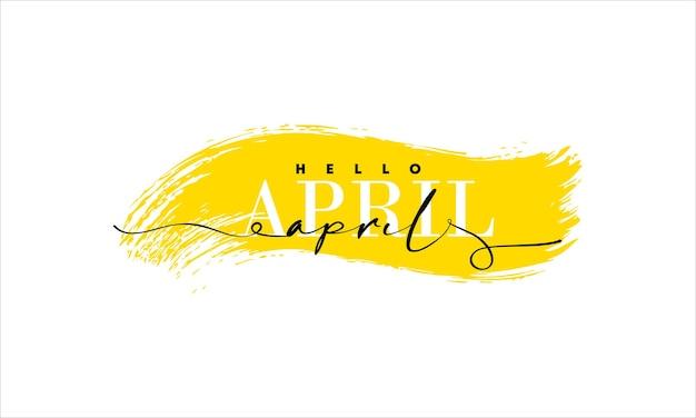 Bonjour carte d'avril. une ligne. affiche de lettrage avec texte.