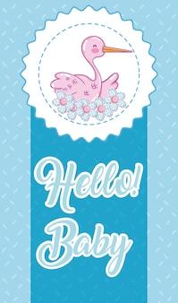 Bonjour carte bébé sur des couleurs colorées