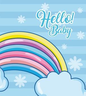 Bonjour carte bébé avec des dessins animés mignons