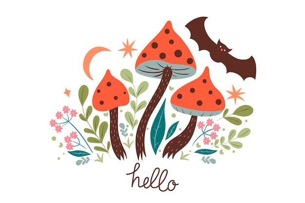 Bonjour carte avec des champignons agaric mouche et une chauve-souris