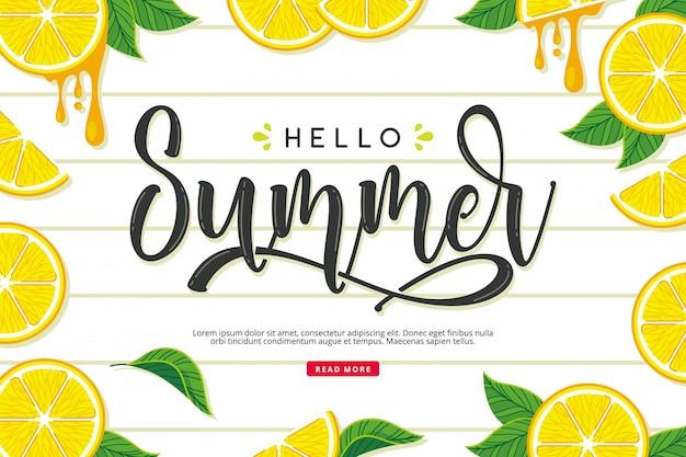 Bonjour carte de citron d'été