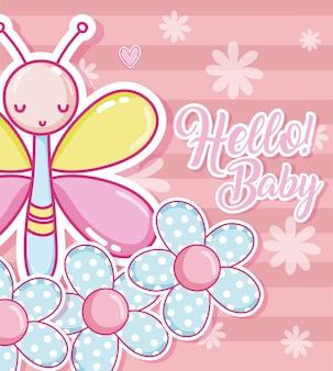 Bonjour carte de douche de bébé avec des animaux marrants