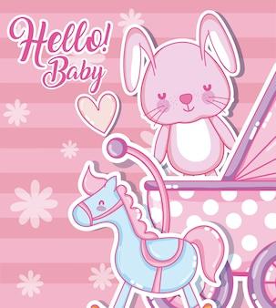 Bonjour carte de douche bébé dessins animés mignons