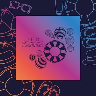 Bonjour carte d'été avec cadre