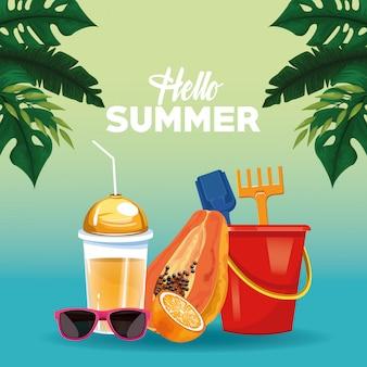 Bonjour carte de l'été carte de style