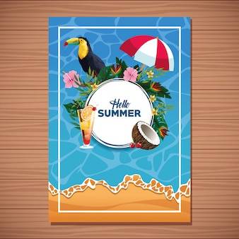 Bonjour la carte de l'été sur fond en bois