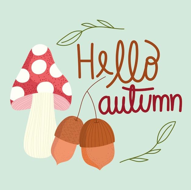 Bonjour carte de gland et de champignon d'automne