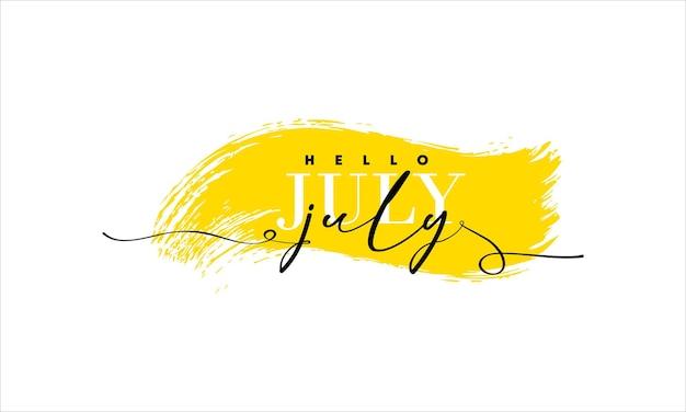 Bonjour carte de juillet. une ligne. affiche de lettrage avec texte.