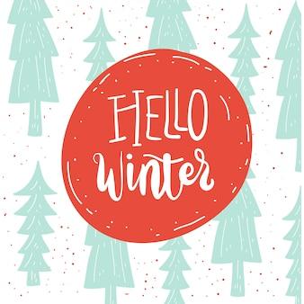 Bonjour carte de lettrage hiver.