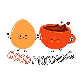 Bonjour carte avec mignon oeuf au plat heureux et tasse de café