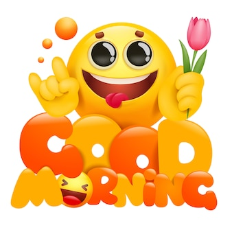 Bonjour carte avec personnage de dessin animé jaune emoji tenant la fleur de tulipe.